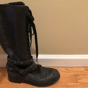 Ash knee high lace up leather combat boots